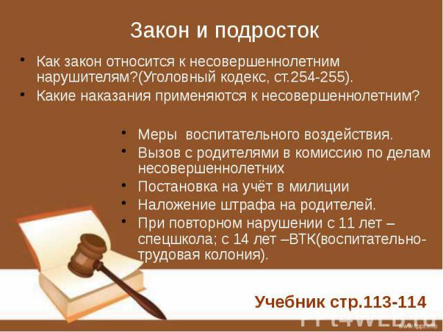Закон и подросток Как закон относится к несовершеннолетним нарушителям?(Уголовный кодекс, ст.254-255). Какие наказания применяются к несовершеннолетним?