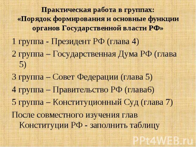 1 группа - Президент РФ (глава 4) 1 группа - Президент РФ (глава 4) 2 группа – Государственная Дума РФ (глава 5) 3 группа – Совет Федерации (глава 5) 4 группа – Правительство РФ (глава6) 5 группа – Конституционный Суд (глава 7) После совместного изу…