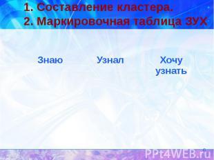 1. Составление кластера. 2. Маркировочная таблица ЗУХ