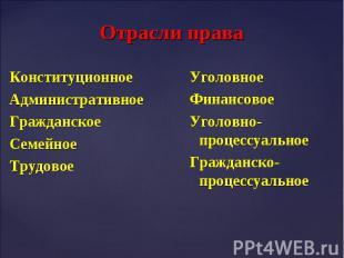 Конституционное Конституционное Административное Гражданское Семейное Трудовое