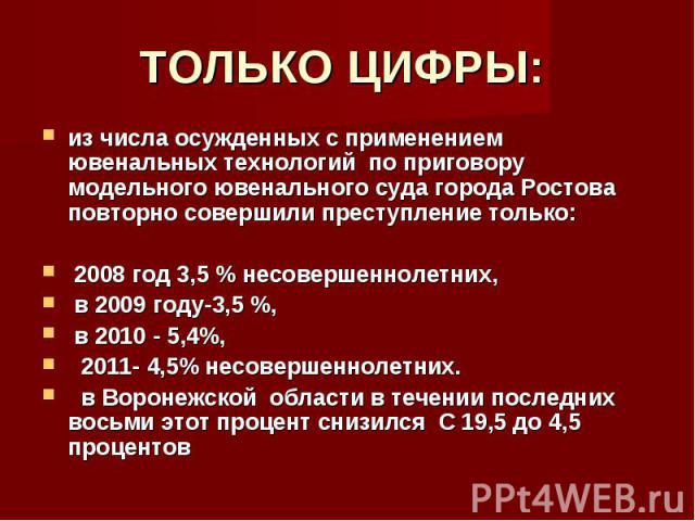 ТОЛЬКО ЦИФРЫ: из числа осужденных с применением ювенальных технологий по приговору модельного ювенального суда города Ростова повторно совершили преступление только: 2008 год 3,5 % несовершеннолетних, в 2009 году-3,5 %, в 2010 - 5,4%, 2011- 4,5% нес…