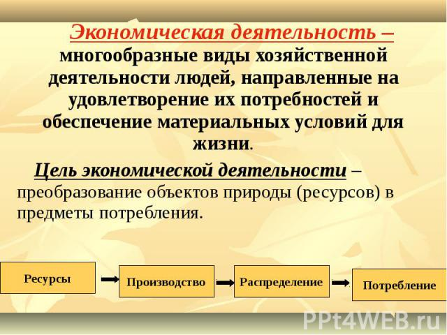 Экономическая деятельность – многообразные виды хозяйственной деятельности людей, направленные на удовлетворение их потребностей и обеспечение материальных условий для жизни. Экономическая деятельность – многообразные виды хозяйственной деятельности…