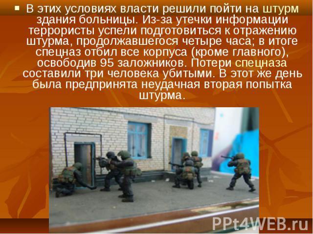 В этих условиях власти решили пойти на штурм здания больницы. Из-за утечки информации террористы успели подготовиться к отражению штурма, продолжавшегося четыре часа; в итоге спецназ отбил все корпуса (кроме главного), освободив 95 заложников. Потер…