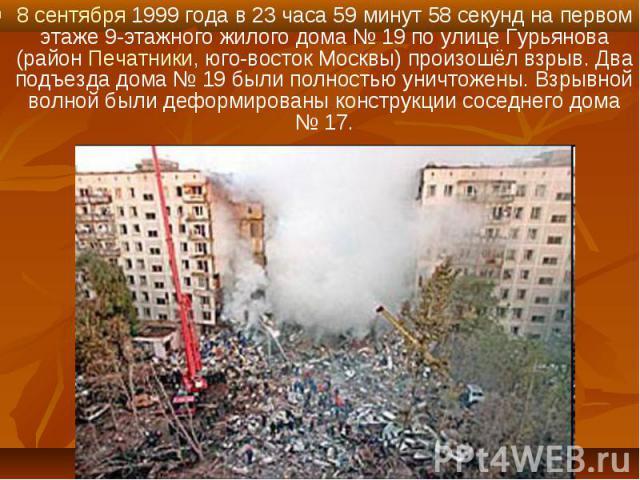 8 сентября 1999 года в 23 часа 59 минут 58 секунд на первом этаже 9-этажного жилого дома №19 по улице Гурьянова (район Печатники, юго-восток Москвы) произошёл взрыв. Два подъезда дома №19 были полностью уничтожены. Взрывной волной были д…