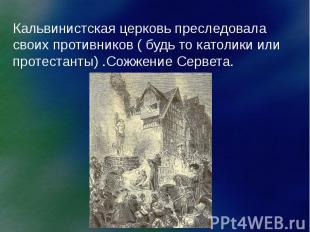 Кальвинистская церковь преследовала своих противников ( будь то католики или про