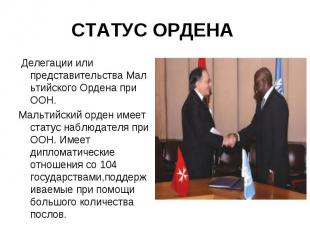 Делегации или представительстваМальтийскогоОрдена при ООН. &nb