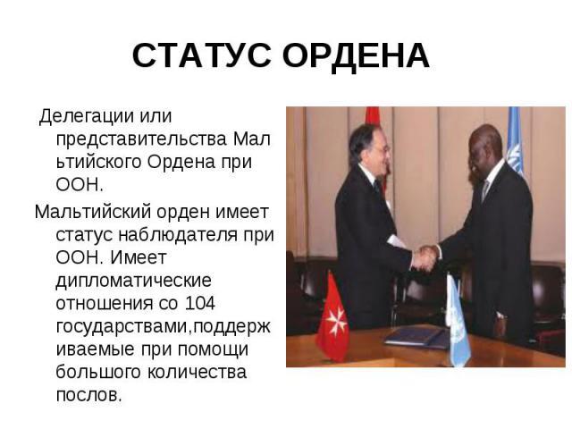 Делегации или представительстваМальтийскогоОрдена при ООН. Делегации или представительстваМальтийскогоОрдена при ООН. Мальтийский орден имеет статус наблюдателя при ООН. Имеет дипломатические отношения со 104 госу…