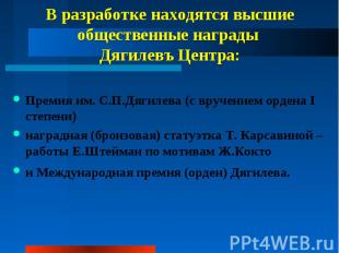 В разработке находятся высшие общественные награды Дягилевъ Центра: Премия им. С