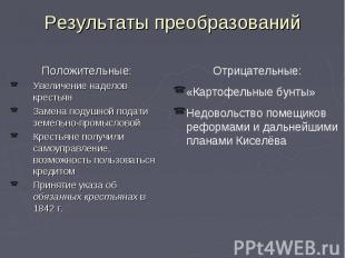 Результаты преобразований Положительные: Увеличение наделов крестьян Замена поду