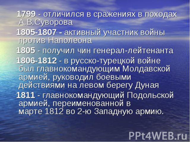 1799 - отличился в сраженияхв походах А.В.Суворова 1799 - отличился в сраженияхв походах А.В.Суворова 1805-1807 - активный участник войны противНаполеона 1805 - получил чингенерал-лейтенанта 1806-1812 - в русско-турецкой войн…