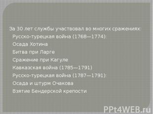 За 30 лет службы участвовал во многих сражениях: Русско-турецкая война (1768—177