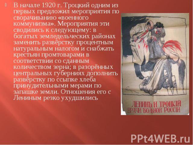 В начале 1920 г. Троцкий одним из первых предложил мероприятия по сворачиванию «военного коммунизма». Мероприятия эти сводились к следующему: в богатых земледельческих районах заменить развёрстку процентным натуральным налогом и снабжать крестьян пр…