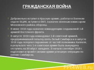 Добровольно вступил в Красную армию, работал в Военном отделе ВЦИК, вступил в ВК