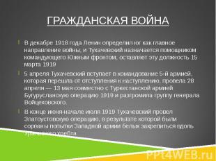 В декабре 1918 года Ленин определил юг как главное направление войны, и Тухачевс