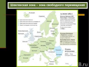 Шенгенская зона – зона свободного перемещения Шенгенская зона – зона свободного