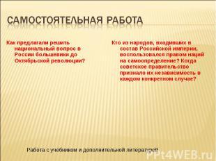 Как предлагали решить национальный вопрос в России большевики до Октябрьской рев