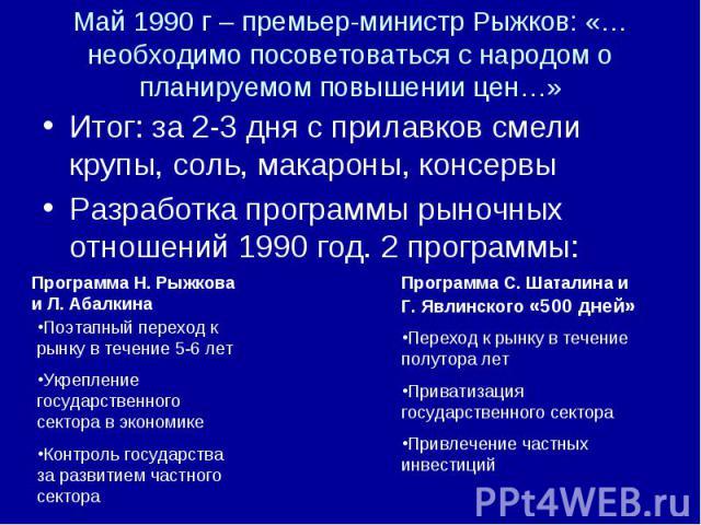 Май 1990 г – премьер-министр Рыжков: «… необходимо посоветоваться с народом о планируемом повышении цен…» Итог: за 2-3 дня с прилавков смели крупы, соль, макароны, консервы Разработка программы рыночных отношений 1990 год. 2 программы: