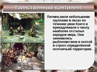 Пигмеи,жили небольшими группами в лесах по течению реки Конго и принадлежали к ч