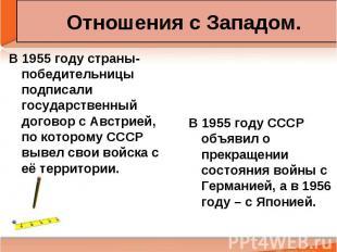 Отношения с Западом. В 1955 году страны-победительницы подписали государственный