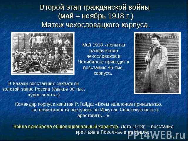 Второй этап гражданской войны (май – ноябрь 1918 г.) Мятеж чехословацкого корпуса.
