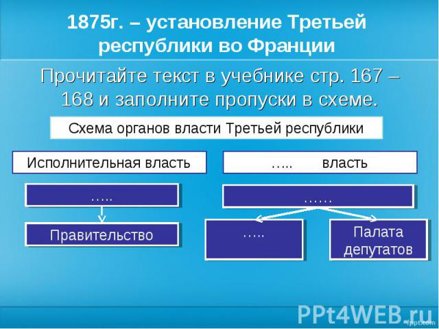 Прочитайте текст в учебнике стр. 167 – 168 и заполните пропуски в схеме. Прочитайте текст в учебнике стр. 167 – 168 и заполните пропуски в схеме.
