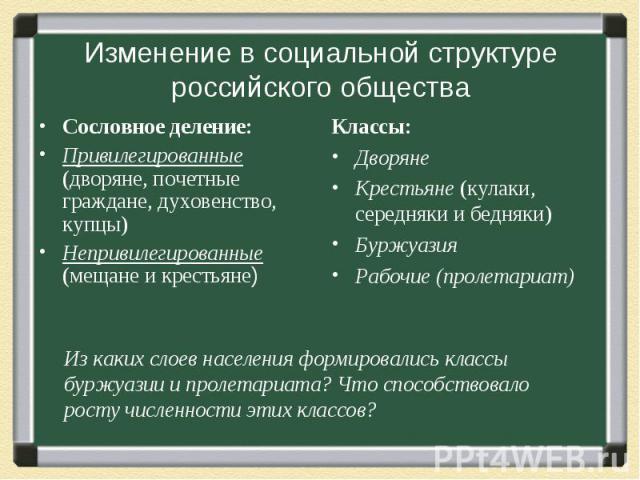 Изменение в социальной структуре российского общества Сословное деление: Привилегированные (дворяне, почетные граждане, духовенство, купцы) Непривилегированные (мещане и крестьяне)