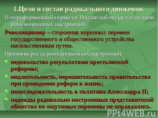 1.Цели и состав радикального движения. В пореформенный период в России наблюдает