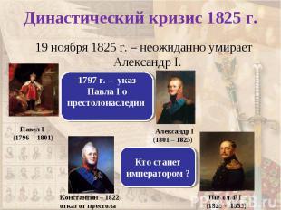 19 ноября 1825 г. – неожиданно умирает Александр I. 19 ноября 1825 г. – неожидан
