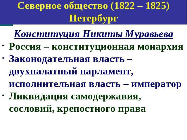 Конституция Никиты Муравьева Конституция Никиты Муравьева Россия – конституционная монархия Законодательная власть – двухпалатный парламент, исполнительная власть – император Ликвидация самодержавия, сословий, крепостного права