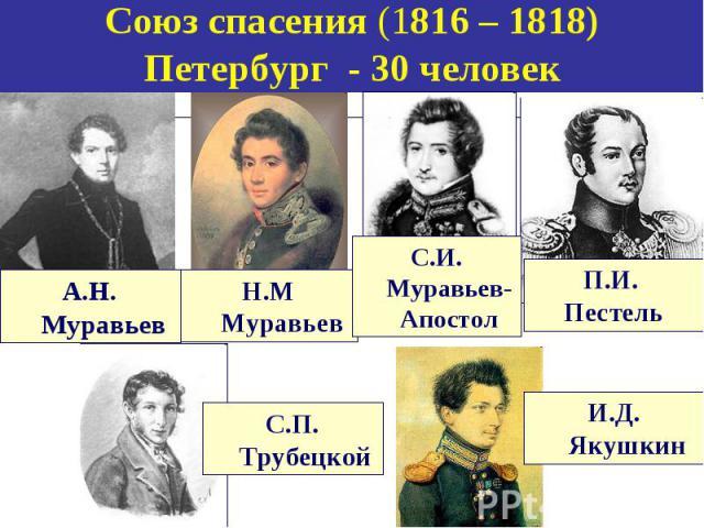 Союз спасения (1816 – 1818) Петербург - 30 человек А.Н. Муравьев