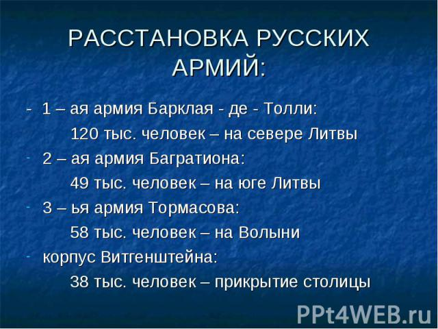 - 1 – ая армия Барклая - де - Толли: - 1 – ая армия Барклая - де - Толли: 120 тыс. человек – на севере Литвы 2 – ая армия Багратиона: 49 тыс. человек – на юге Литвы 3 – ья армия Тормасова: 58 тыс. человек – на Волыни корпус Витгенштейна: 38 тыс. чел…