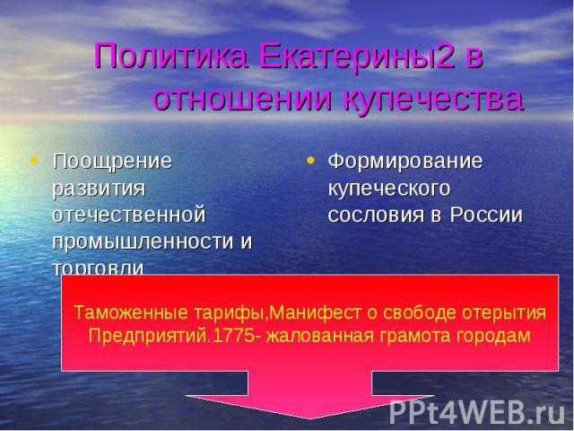 Политика Екатерины2 в отношении купечества Поощрение развития отечественной промышленности и торговли