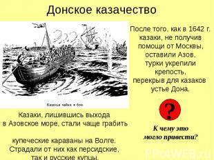 Донское казачество После того, как в 1642 г. казаки, не получив помощи от Москвы