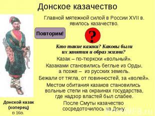 Донское казачество Главной мятежной силой в России XVII в. явилось казачество. К