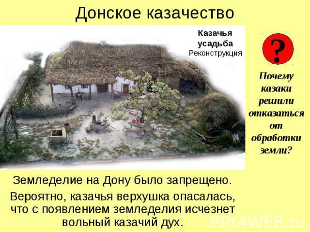 Донское казачество Земледелие на Дону было запрещено. Вероятно, казачья верхушка опасалась, что с появлением земледелия исчезнет вольный казачий дух.