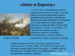В 1701 Пётр I году приказал начать новое наступление на севере. Русские в