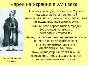 Евреи на Украине в XVII веке Помимо украинцев и поляков на Украине под властью Р