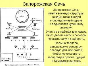 Запорожская Сечь Запорожская Сечь имела военную структуру, каждый казак входил в