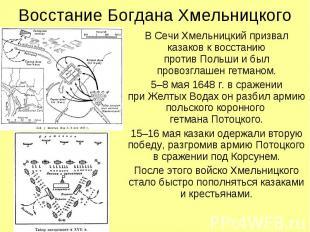 Восстание Богдана Хмельницкого В Сечи Хмельницкий призвал казаков к восстанию пр