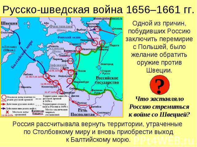 Русско-шведская война 1656–1661 гг. Одной из причин, побудивших Россию заключить перемирие с Польшей, было желание обратить оружие против Швеции. Что заставляло Россию стремиться к войне со Швецией?
