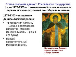 Этапы создания единого Российского государства I этап 1276-1389 гг.: возвышение
