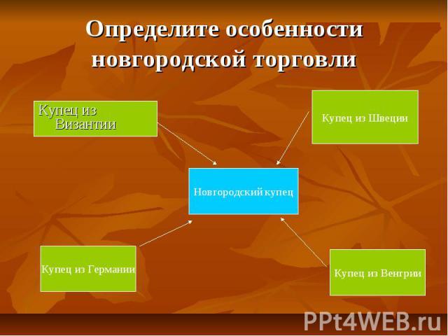 Определите особенности новгородской торговли Купец из Византии