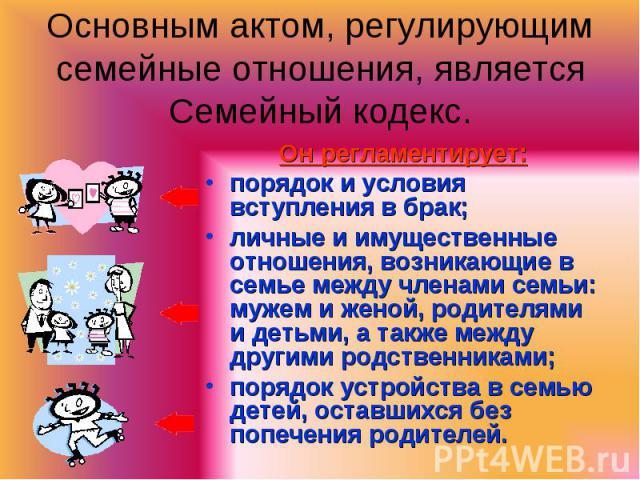Он регламентирует: Он регламентирует: порядок и условия вступления в брак; личные и имущественные отношения, возникающие в семье между членами семьи: мужем и женой, родителями и детьми, а также между другими родственниками; порядок устройства в семь…