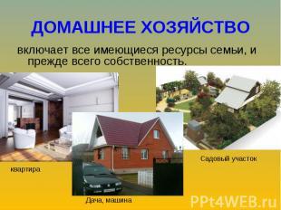 включает все имеющиеся ресурсы семьи, и прежде всего собственность. включает все