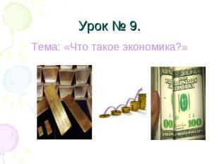 Урок № 9. Тема: «Что такое экономика?»