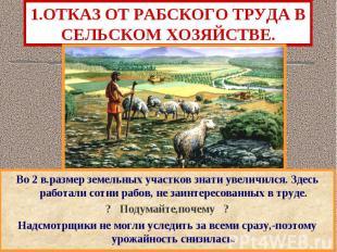 1.ОТКАЗ ОТ РАБСКОГО ТРУДА В СЕЛЬСКОМ ХОЗЯЙСТВЕ. Во 2 в.размер земельных участков