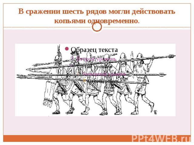 В сражении шесть рядов могли действовать копьями одновременно.
