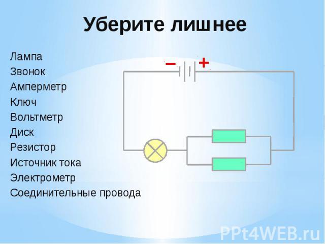 Уберите лишнее Лампа Звонок Амперметр Ключ Вольтметр Диск Резистор Источник тока Электрометр Соединительные провода