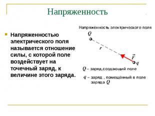 Напряженностью электрического поля называется отношение силы, с которой поле воз