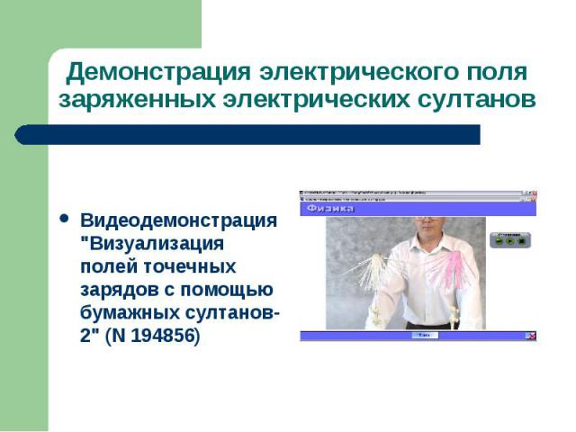 """Видеодемонстрация """"Визуализация полей точечных зарядов с помощью бумажных султанов-2"""" (N 194856)"""